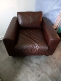 Single brown genuine leather chair