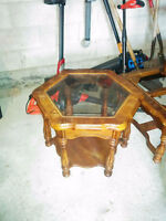 Coffee Table + two Side Tables Glass Tops
