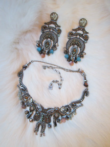 Ayala Bar Necklace and Chandelier Earrings Set NEW
