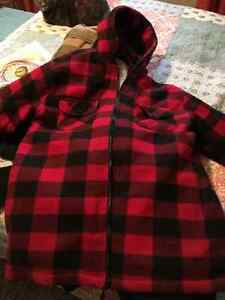 Canadian red/black checked snuggly polar fleece coat.