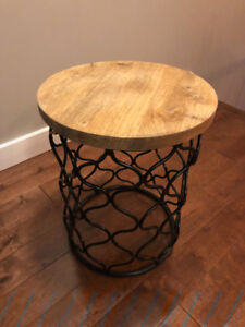 Metal and Solid Wood Side Table