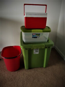 4pc, 3new, Lg 68L + Sm Container + Cooler + 1 used pail $15total