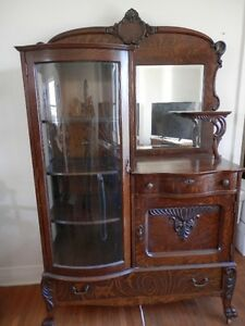 Oak Side by Side with Cabinet Circa 1900
