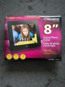 "Aluratek 8"" Digital Photo Frame, never used, still in the box, 8"