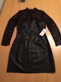 BNWT Zara large black faux leather & lace dress