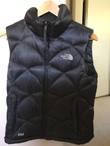 North Face Goose down vest 550 fill, charcoal grey, size small