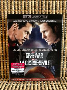 Captain America 3: Civil War 4K(2-Disc Blu-ray, 2019)+Slipcover.