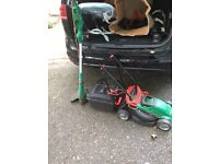 Qualcast lawn mower and black and decker strimmer