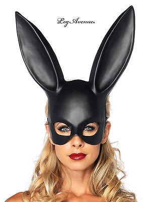 Black Bondage Bunny Rabbit Masquerade Mask Halloween Adult Costume. One Size. - Black Bunny Mask