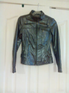 Grey glazed leather jacket by Danier leather new