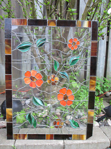 Old Stained Glass Panel(Beautiful floral Pattern)33 1/2 x 24 3/4