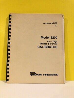 Data Precision 62-5018 Model 8200 Voltagecurrent Calibrator Instruction Manual