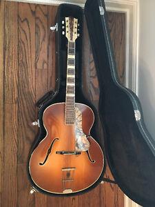 1950s Vintage Hofner Archtop Sunburst Acoustic Guitar German