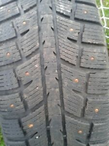 "Set of 4=225/70/16"" Studded tires on rims Lots of tread"