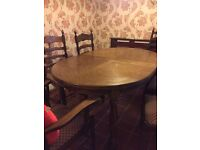 Dark Solid Wood Dinning Table with 6 Chairs