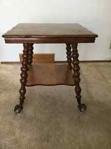 Antique Oak Table with Large Glass Ball Claw Feet