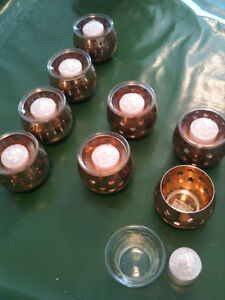 Candle Holders NEW With Glass inserts 3 different patterns 8 lot Kitchener / Waterloo Kitchener Area image 2