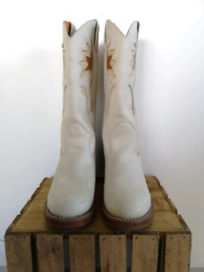 Authentic Frye, White Cowboy/Western Boots, Size 8