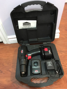 Jobmate 12V Cordless Drill with battery, charger, case, manual