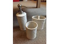 Brand new bathroom set - soap dispenser, toothbrush holder and cup