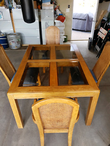 oak dining set with chairs