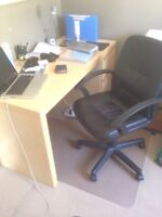 IKEA Malm desk, office mat and seat