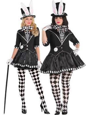 Dark Mad Hatter Costume Ladies UK 8-20 Evil Alice Halloween Fancy Dress Womens - Evil Mad Hatter