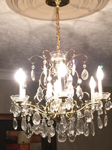 Brass and crystal chandelier Cornwall Ontario image 1