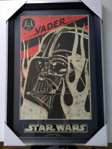 "26"" x 38"" framed Darth Vader Star Wars laser cut picture - rare"