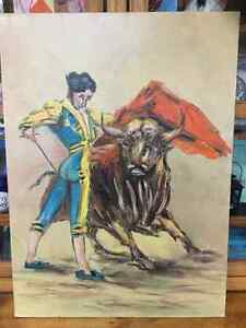 Vintage Bull fighter oil on Canvis large expressionism