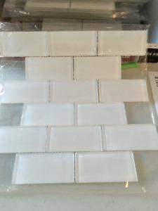 Glass Mosaic Tile, White, 19 pieces