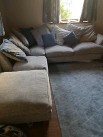Corner sofa and foot stool grey