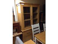 Oak glass display cabinet new