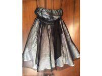 Ladies short ball dress, puffy, silver, black