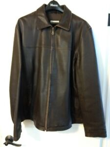 Mens XLg Brown Leather Jacket