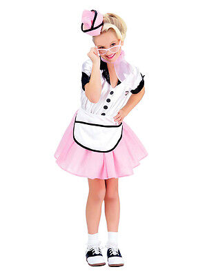 Child Soda Pop Girl Retro Fancy Dress Costume 50s Waitress Kids Girls - Soda Pop Girl Costume