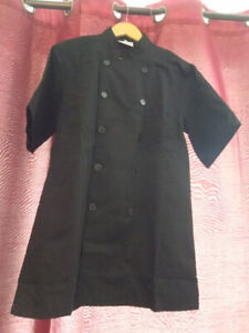 Black chef's coat size small and apron
