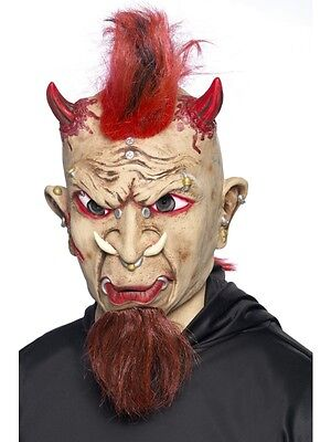 Red Mohican Wig Mask Villain Mask with goatee beard Biker Mask Mens Fancy - Red Beard Kostüm