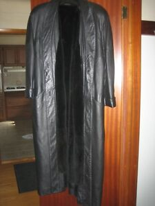 Full Length Black Leather Coat with Detachable Nutria Fur Liner