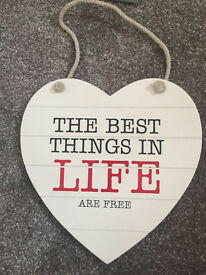 Heart home hanging sign
