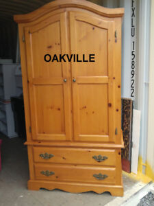 Pine ARMOIRE Closet Wardrobe Chest Drawers Solid Wood Oakville