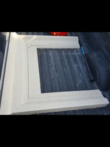 """Fireplace mantel cast stone. Insert is 36""""w x 32""""h. Overall be"""