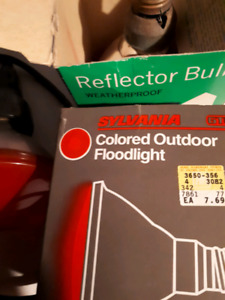 3 red out doors  spotlights for Christmas all three $10