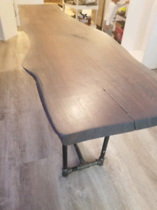 Wood slab table with industral legs
