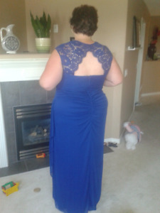 Stunning plus swcapped sleeve evening dress