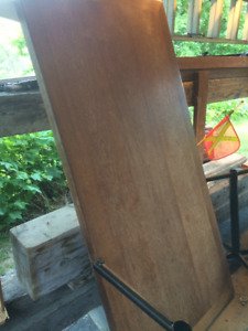 Beautiful Wood Table with Metal Legs For Sale