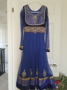 Indian Outfits - Blue & Gold Anarkali