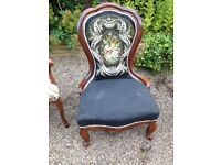 Original Victorian Chair with needle and bead work fabric