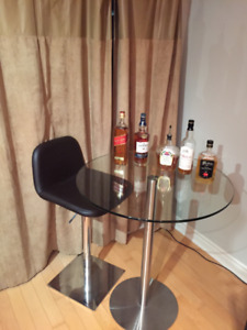 Modern Tempered Glass Table and Grey Bar Stool