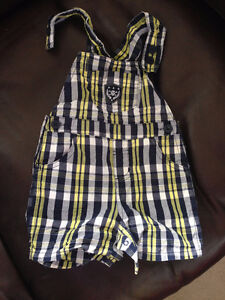 6-12 month Skull and plaid overall shorts